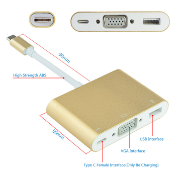 USB Type C to USB Type A + VGA + Type C Power Charge Port Adapter Hub Cable