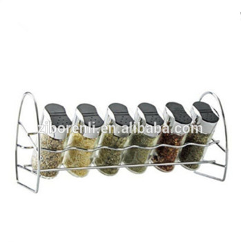 Set 6 Clear 6Oz Oval Shape Decorative Glass Spice Jars Plastic Lid and Metal Rack