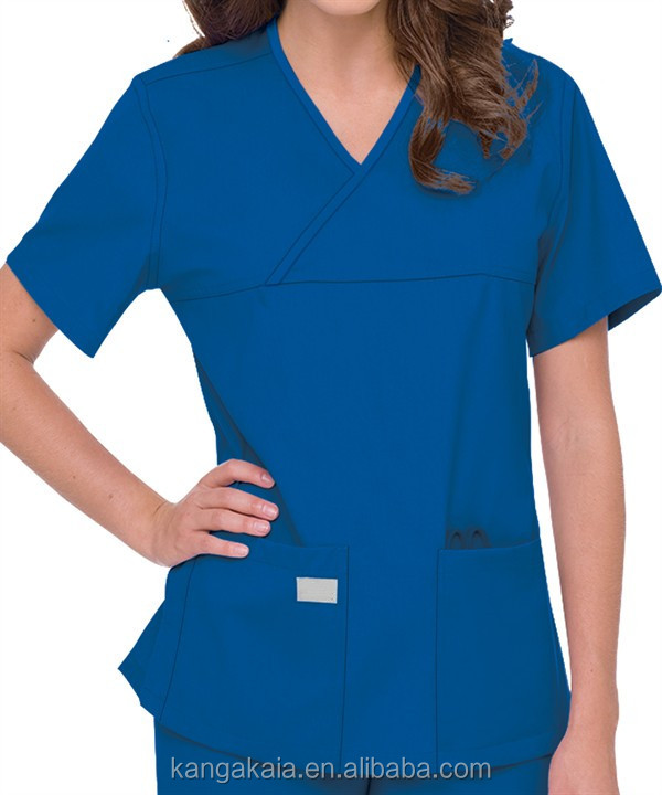KANGAKAIA Urbane Scrubs Double Pocket Crossover Top medical uniforms wholesale KASC003