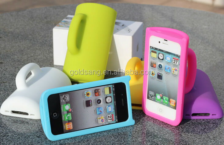 New Fashion CUP Stander Silicone Protective Case Design for iPhone4 4S