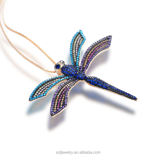 Brazilian model color stone 925 sterling silver dragonfly pendant with gift