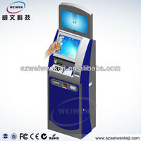 hospital queue touch screen kiosk lcd monitor with card reader, query and printer kiosk