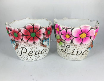 Cement flower pot in round shape for home and garden decorative