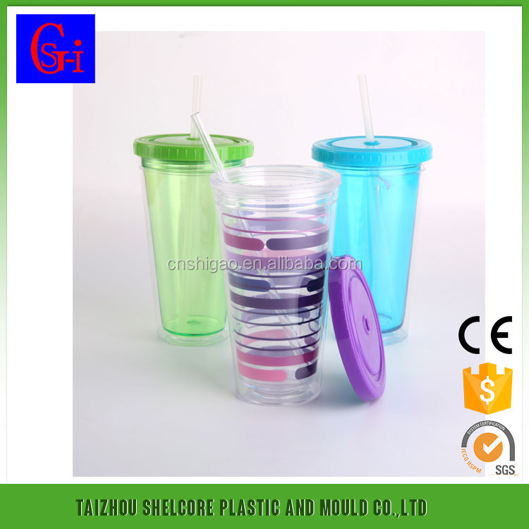 400ml double wall plastic cup with straw insert ice cup