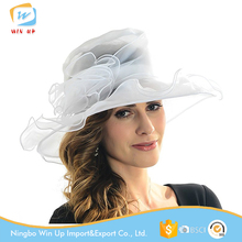 Winup Ladies Folding Sun Summer Wide Brim Flat white Church hats