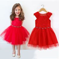 unikids Retail New wedding party Flower Girl Dress Bright Christmas Red sleeveless gift Dress girl children clothes hot sale