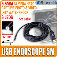 Mini USB Waterproof 5.5mm Inspection Camera with 5m Cable 6 LEDs Lights Endoscope