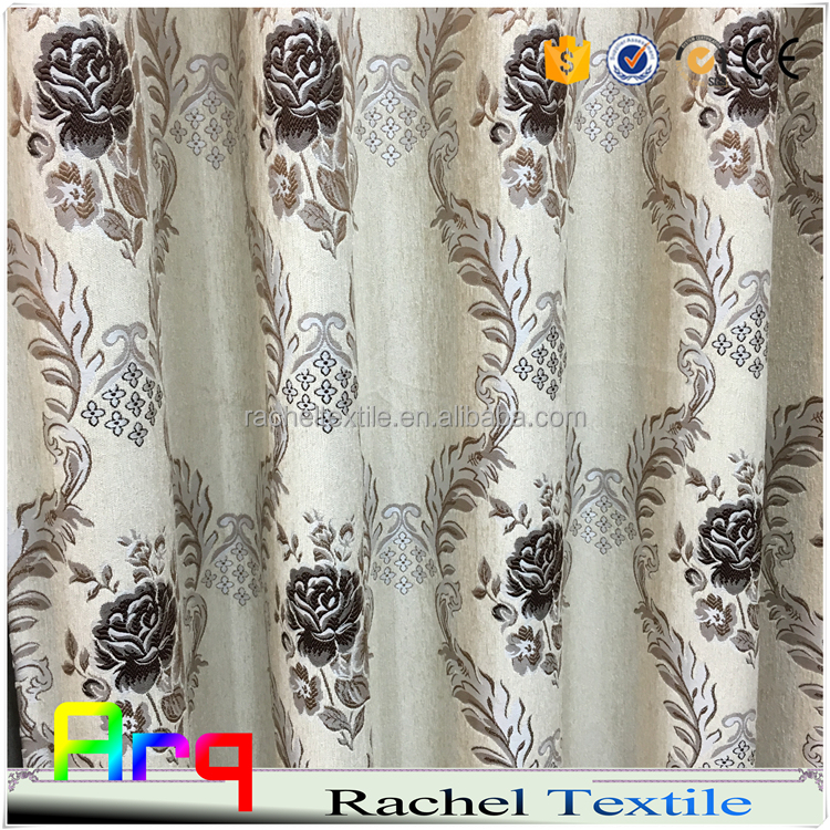 Haining factory chenille upholstery jacquard- flower design curtain sofa fabrics- varies Arabic color
