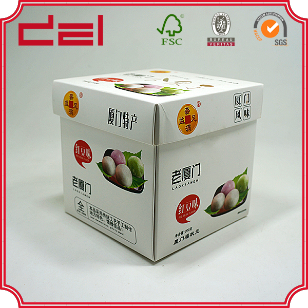 Custom made cheap white card snack packaging box