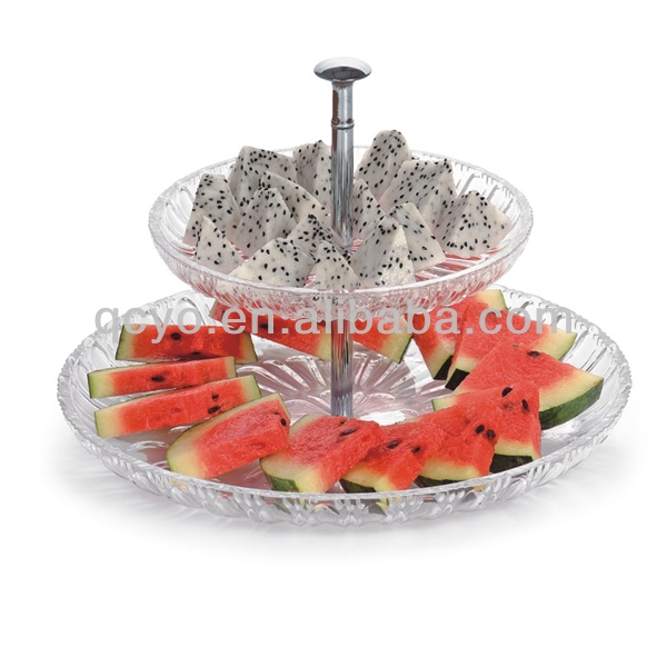 High quality acrylic imitation crystal 2 tier fruit plate