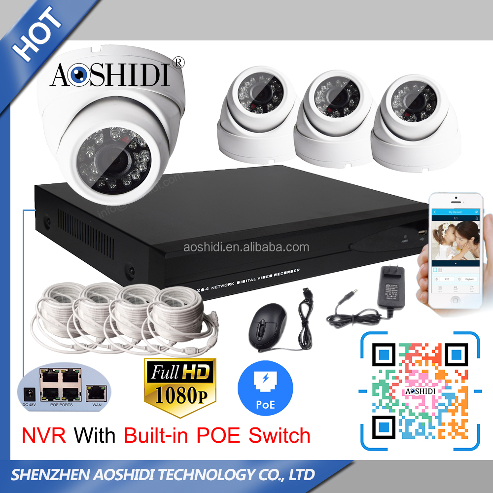 4 Channel H.264 NVR POE HD 1080P CCTV IP Cameras Kits, 4CH Home Video Surveillance Cameras System