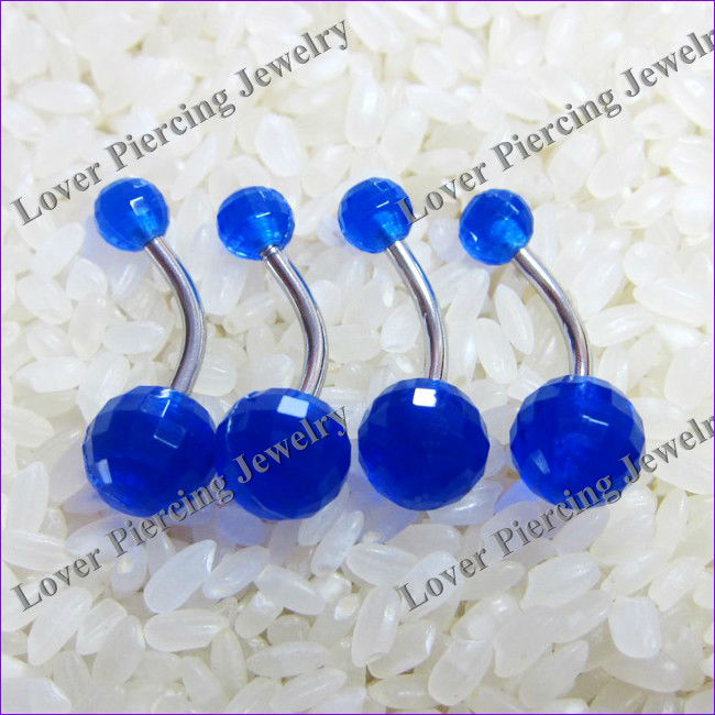 Wholesale Blue Color Acrylic Navel Belly Ring [UV-B070]