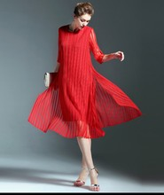 Plus size long loose mesh layered pleat Korea fashion dress red