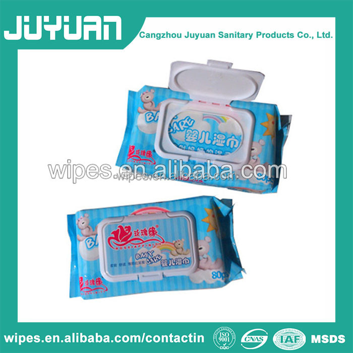Baby soft cotton wet wipes with lid on top
