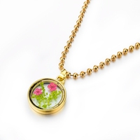 New arrival spring pendant necklace 2016, glass locket with dried flower specimen pendant necklace