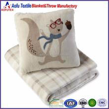 Cute squirrel pillow & cozy plush bedding set warm plaid throw blanket for festival Christmas gift