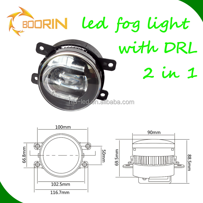 Toyota corolla auto led drl fog lights with angel eyes daytime running light 2-in-1 design