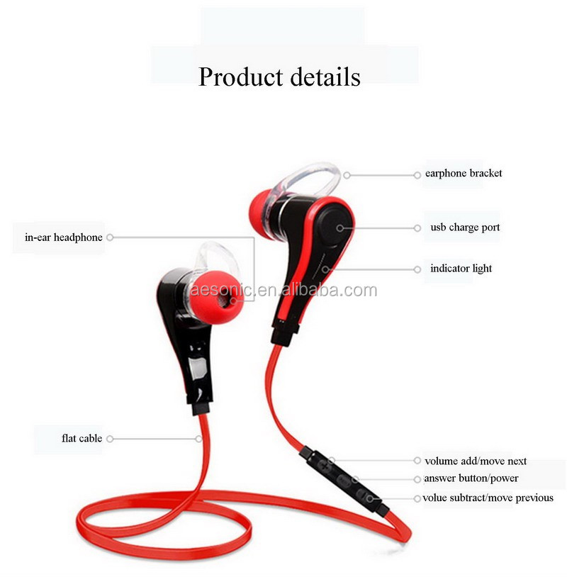 New design fashional sports bluetooth earphone with flat cable