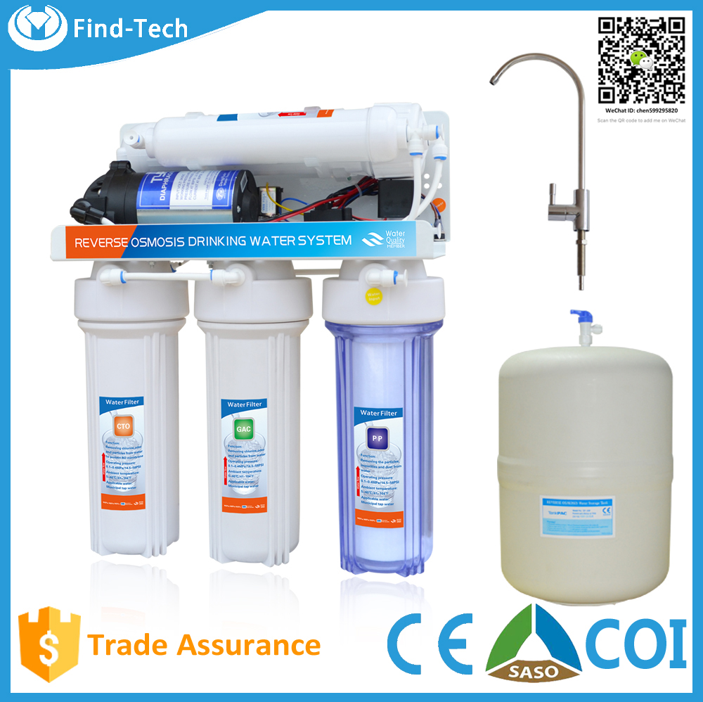 carbon water filter 5 stage PP sediment+GAC+CTO(KX) filter+RO membrane+