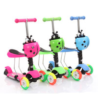 Child 3 in 1 adjustable kick scooter/kid kick foot scooter 3 wheels/wholesale cheap kids kick scooter