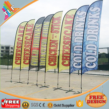 Wholesale outdoor advertising dye sublimation 110g knitted polyester promotion beach flag /feather banner custom /custom flag