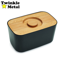 Wooden black wood bread box bin