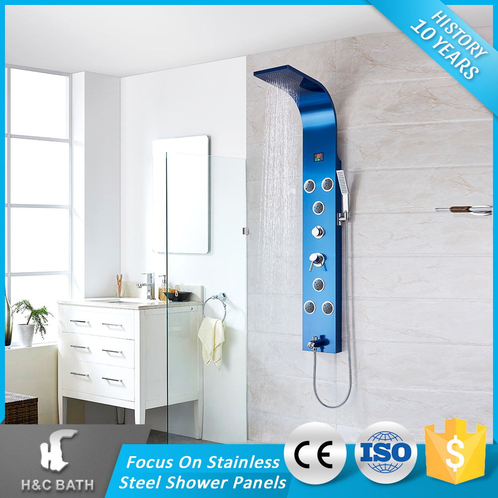 H&C Santiary Ware Digital Smart Bath Rainfall Shower Column Ocean Massage Spa Space Saving Shower Panel