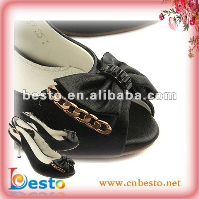 SF0124 Decorative custom black leather bow ladies shoe adornments