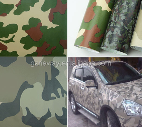 1.52*50m camouflage car wrapping film with 120mic glittering pvc film and 140gsm release paper
