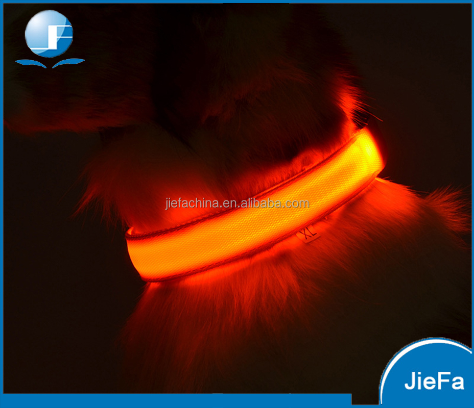 Durable single fiber optic LED pet collar CR2032 battery button cell battery led dog collar
