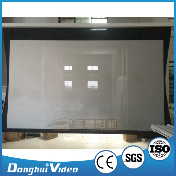 16:9 3D Silver Electric Projection Screen, 100 inch Tab-tensioned Projector Screen for office/home theater/education