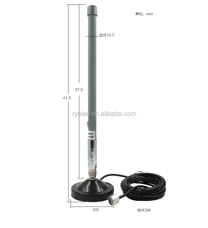 Omni 3DBi 433MHZ outdoor mini fiberglass antenna with strong magnetic base with N male