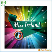 2015 Cheap Hot Sale Free Sample Hot Sale Cheap Miss Ireland Sashes Green Satin With White Words ''Miss Ireland""