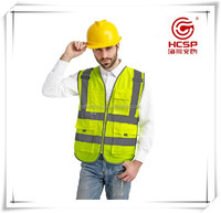 High Visibility Zipper Front Reflective Safety Vest With Pockets