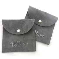 Envelop Snap Button jewelry bag Suede Flap Jewelry Pouch With Custom Logo