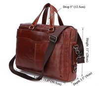 Classic Vintage Leather Men's Chocolate Messenger Bag Laptop Bag # 7162B