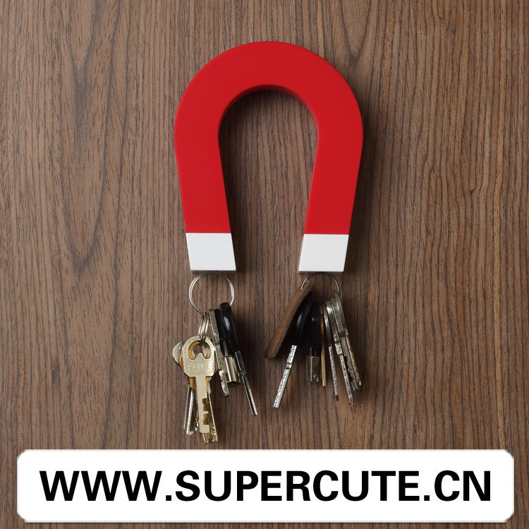 Creative fancy design ABS & Magnet <strong>u</strong>-shape red color key holder decoration wall
