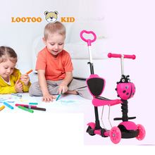 Glowing wheels 5 in 1 mother push girls toddler scooter / kids scooter 1-3 years old children toys