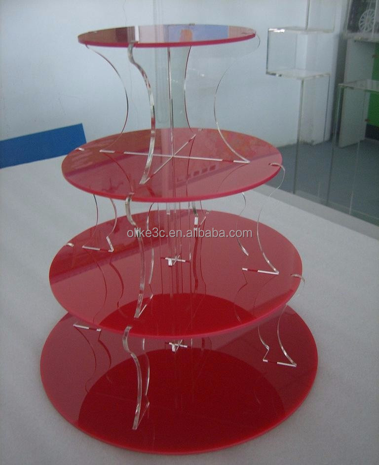 floor standing durable red acrylic cake display stand holder with stairs Shenzhen manufacturer high quality