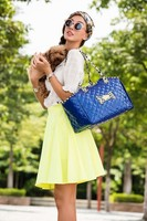 Blue PVC Quilted Embroidery Dogs Carrier Bag Pets fashion bag