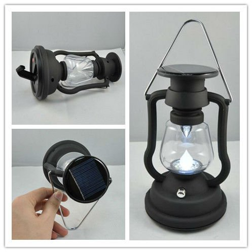 solar and hand crank lamp,solar LED camp light,solar panel 0.28W,7Leds 6lm/led,home/gardern power light bulb