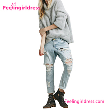 China Wholesale Fashion Hole Long Latest Design Jeans Pants For Girl