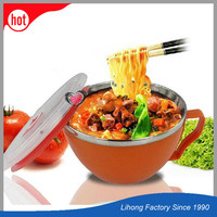 Plastic Kids Stainless Steel Noodle Bowl With Lid