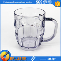 Surface dimple beautiful 590ml glass look plastic cup custom print beer mug