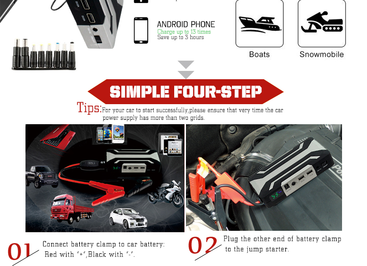 15000mAh 55.5Wh 60C Mini car jump starter power bank with air compressor