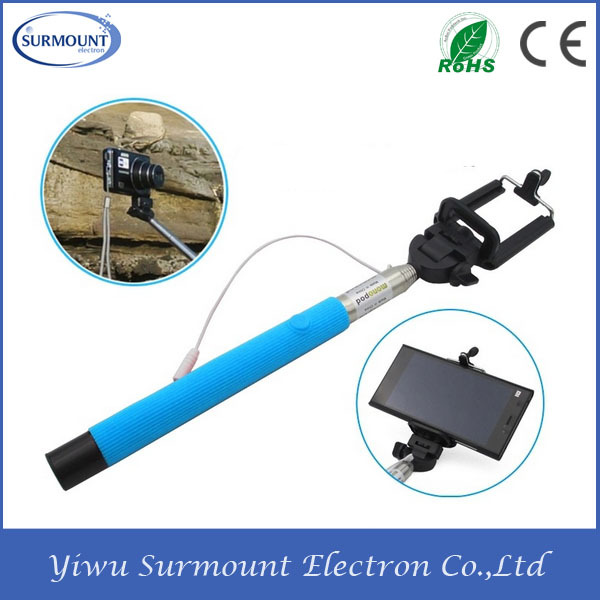 100% Cheapest Price and High Quality Colorful Selfie Stick With Cable For Different Phones