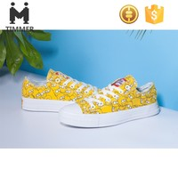 fashion casual shoes canvas shoes pattern printed canvas shoes yellow