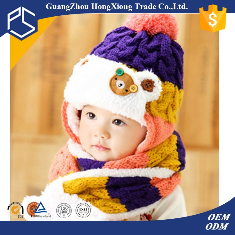 Wooly winter hats with ear flaps for girl