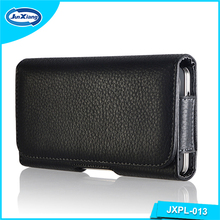 Black Flip PU Leather Universal Cell Phone Covers Cases the Moible Phone Belt Pouch for Men for iPhone and for Samsung Models