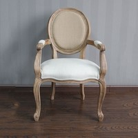 High quality French style oak arm chair / wood louis arm chair / french style chair